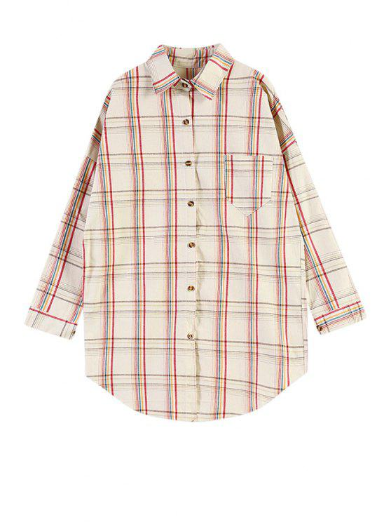lady Colorful Plaid Pocket Shirt - KHAKI ONE SIZE(FIT SIZE XS TO M)