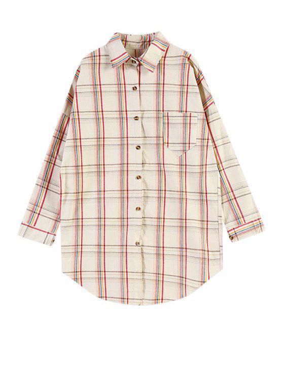lady Colorful Plaid Pocket Shirt - KHAKI ONE SIZE(FIT SIZE XS TO M)