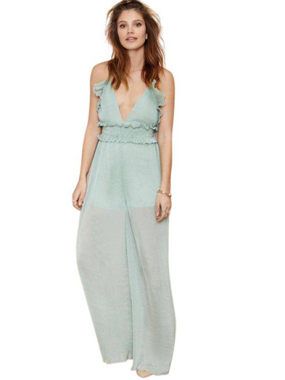 womens Spaghetti Straps Ruffled Jumpsuit - GREEN S