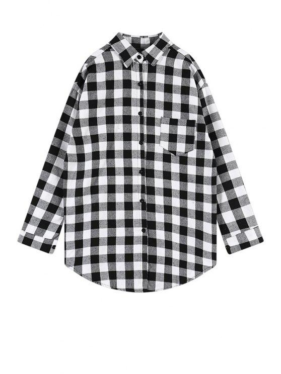 sale Plaid Heart Applique Shirt - WHITE ONE SIZE(FIT SIZE XS TO M)