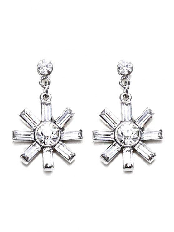 unique Retro Faux Crystal Flower Earrings - SILVER