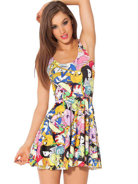 buy Cartoon Print Sleeveless Dress - COLORMIX ONE SIZE(FIT SIZE XS TO M)