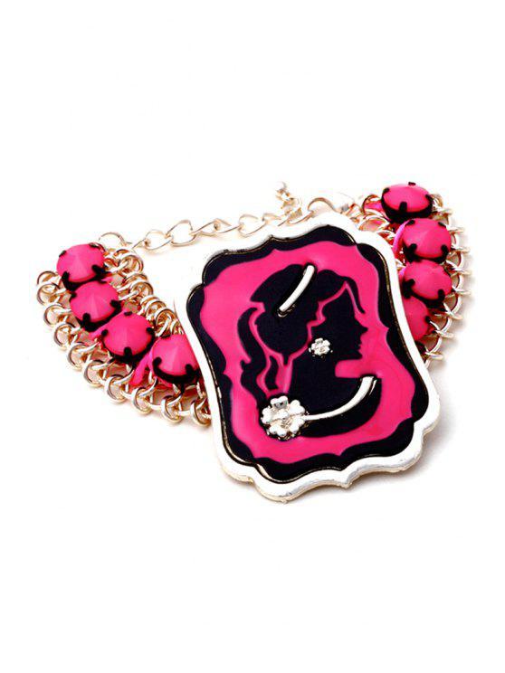 fancy Trendy Flower Beauty Portrait Bracelet - ROSE MADDER