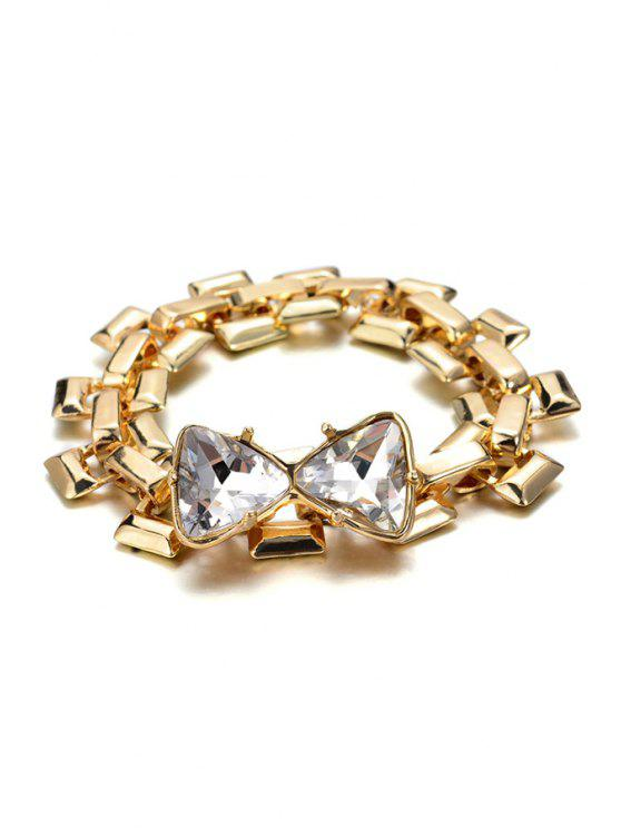 buy Trendy Rhinestone Bowknot Bracelet - GOLDEN