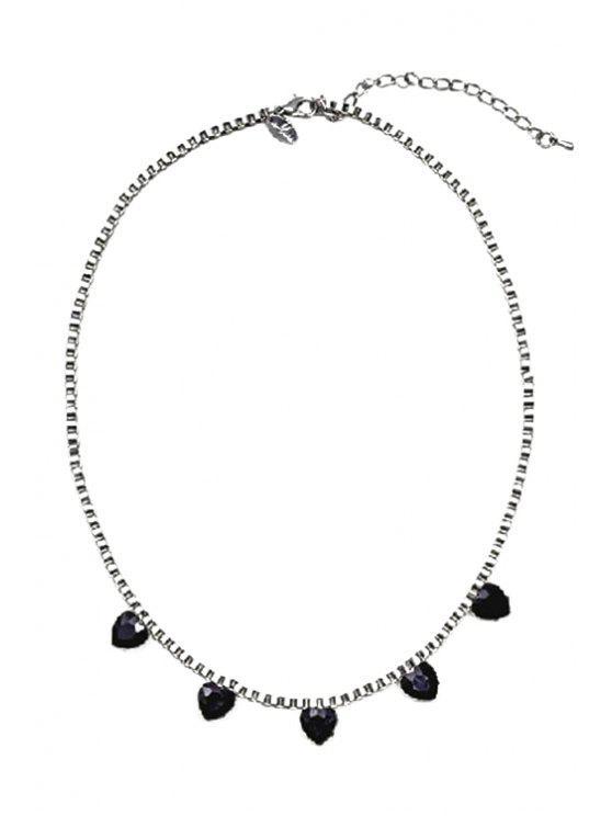 chic Sweet Heart Rhinestone Pendant Necklace - BLACK