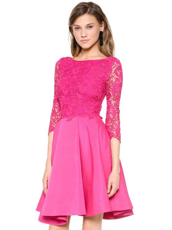 fashion 3/4 Sleeves Lace Splicing Dress - ROSE S