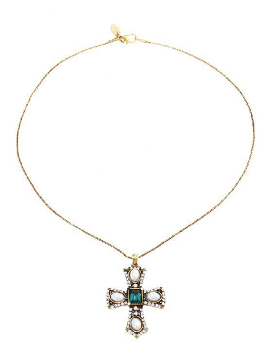 sale Retro Faux Pearl Rhinestone Cross Pendant Necklace - GOLDEN