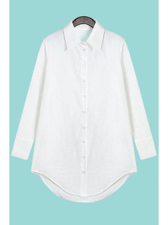 fashion Polo Collar Solid Color Asymmetrical Shirt - WHITE ONE SIZE(FIT SIZE XS TO M)