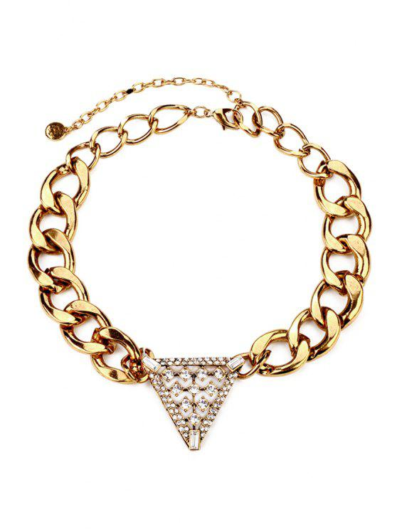 buy Punk Rhinestone Triangle Pendant Necklace - GOLDEN