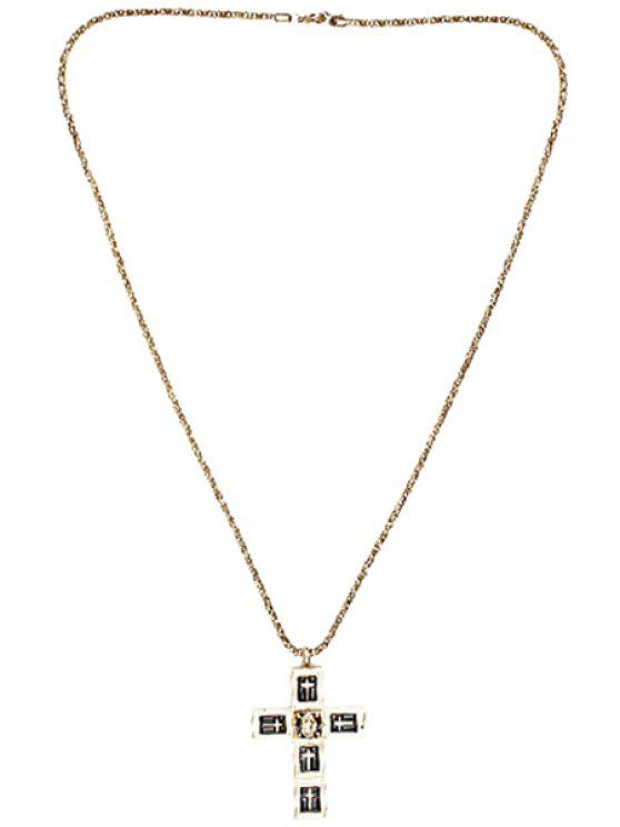 lady Stylish Cross Pendant Sweater Chain Necklace - GOLDEN