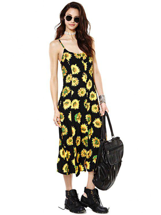 trendy Sunflower Print Spaghetti Straps Dress - YELLOW AND BLACK L