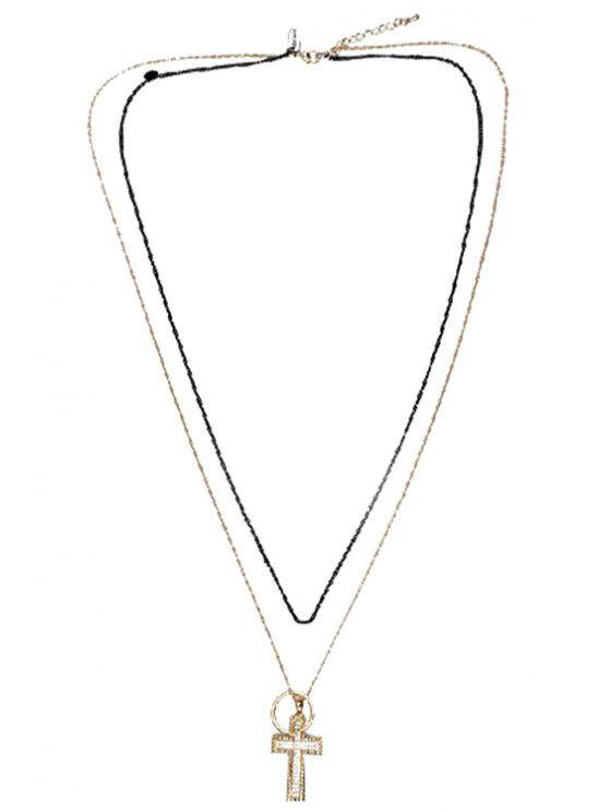 best Stylish Rhinestone Cross Layered Link Sweater Chain Necklace - GOLDEN