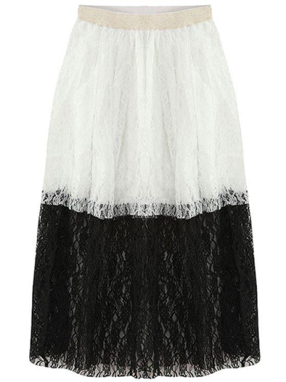 new Color Block Lace Splicing Long Skirt - BLACK ONE SIZE(FIT SIZE XS TO M)