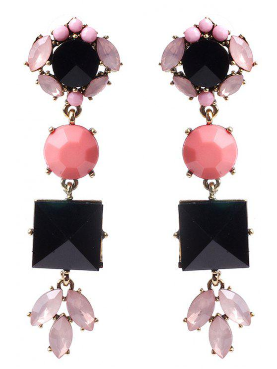 buy Cute Rhinestone Floral Pendant Earrings - COLORMIX