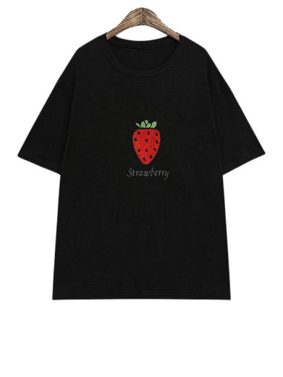 new Strawberry Print Short Sleeve T-Shirt - BLACK ONE SIZE(FIT SIZE XS TO M)