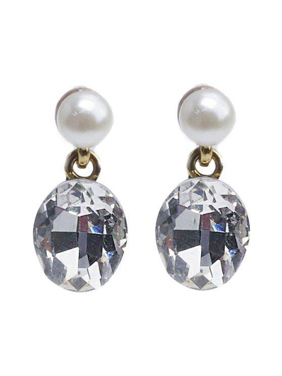 womens Cute Rhinestone Faux Pearl Ellipse Pendant Earrings - GOLDEN