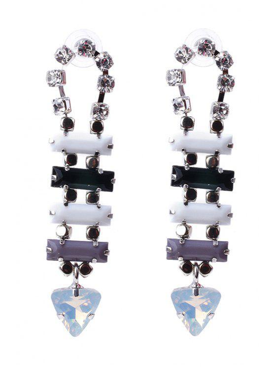 women Chic Rhinestone Triangle Pendant Earrings - BLACK