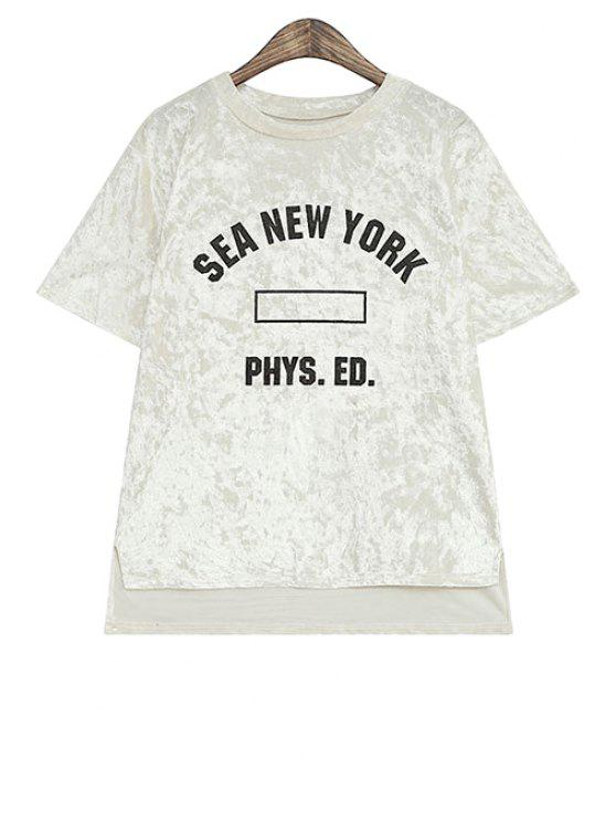 latest Letter Print Asymmetrical T-Shirt - OFF-WHITE ONE SIZE(FIT SIZE XS TO M)