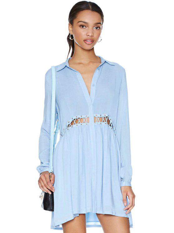 fashion Solid Color Hollow Dress - LIGHT BLUE S