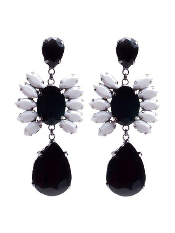 lady Delicate Rhinestone Flower Drop Pendant Earrings - BLACK