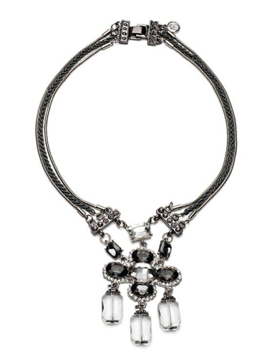 new Retro Rhinestone Flower Pendant Necklace - BLACK
