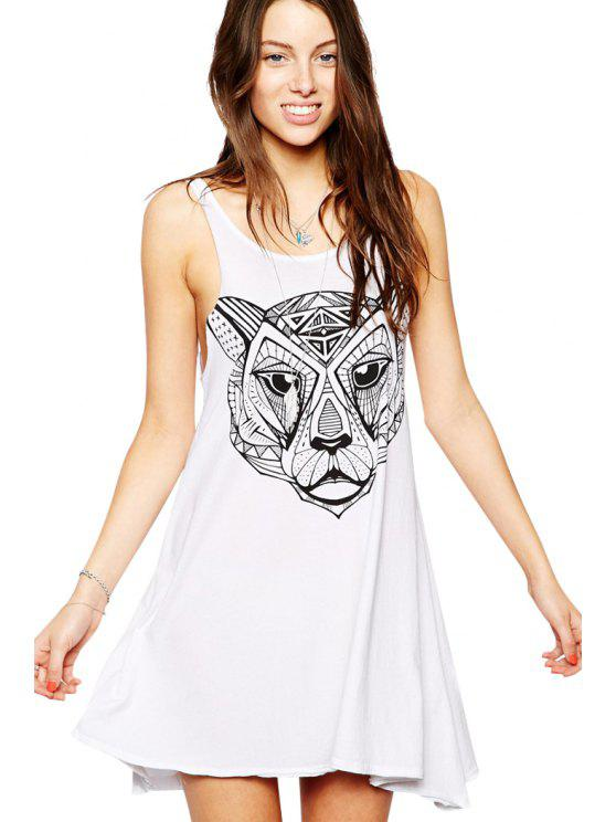 women's Tiger Print Sundress - WHITE S