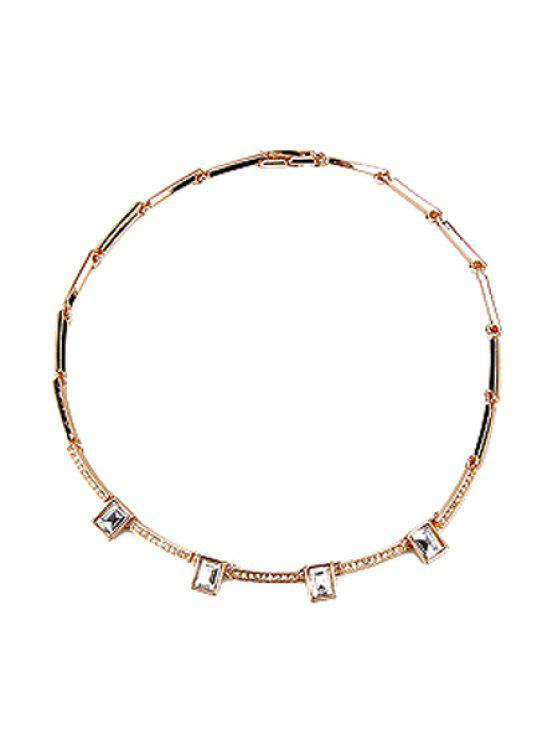 hot Delicate Rhinestone Square Necklace - GOLDEN