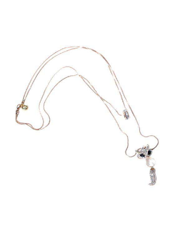 outfit Cute Beads Faux Pearl Fox Sweater Chain Necklace - COLORMIX
