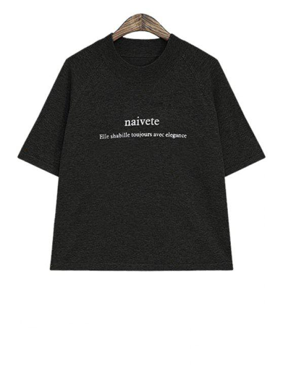 shop Letter Print T-Shirt - BLACK ONE SIZE(FIT SIZE XS TO M)