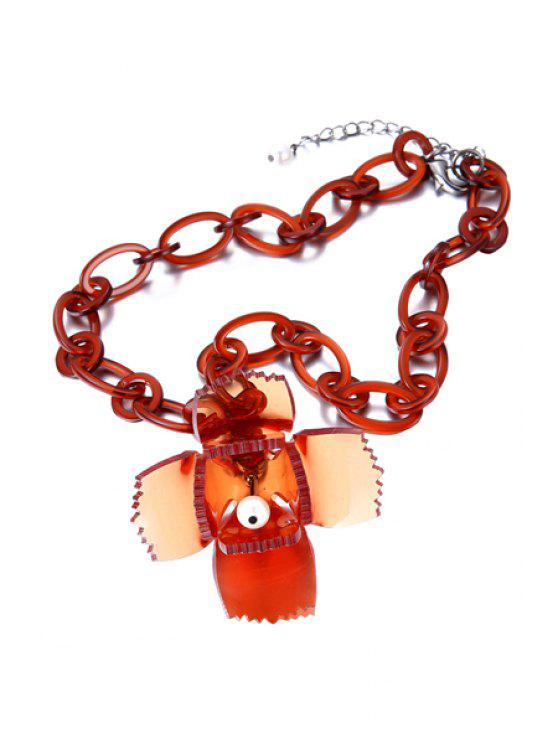 shop Sweet Acrylic Flower Necklace - ORANGE