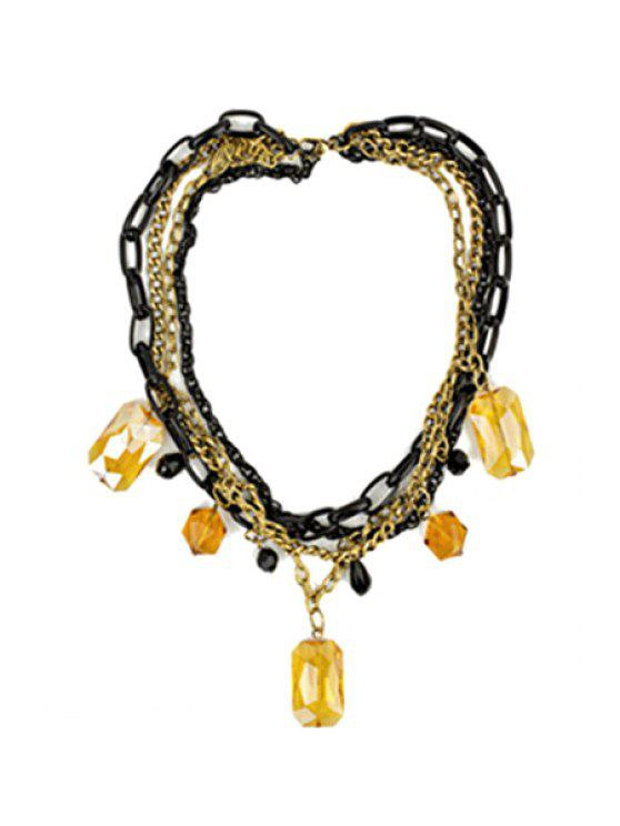 chic Cute Square Faux Crystal Necklace - YELLOW