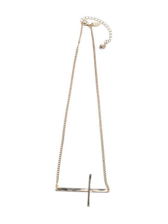 unique Simple Cross Pendant Necklace - GOLDEN