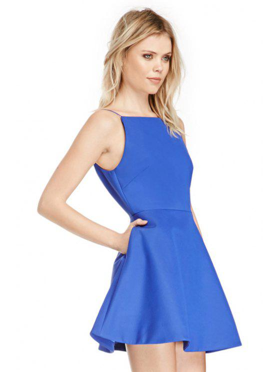 chic Spaghetti Straps A-Line Dress - LIGHT BLUE S
