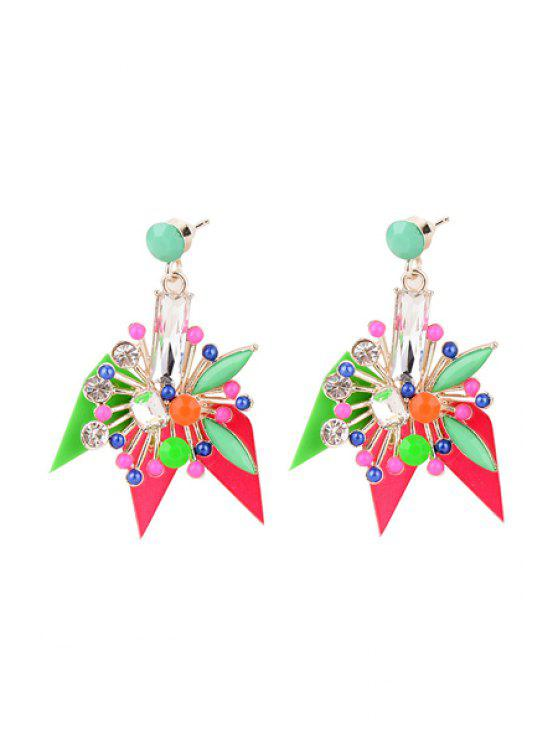 new Delicate Rhinestone Colored Flower Earrings - COLORFUL
