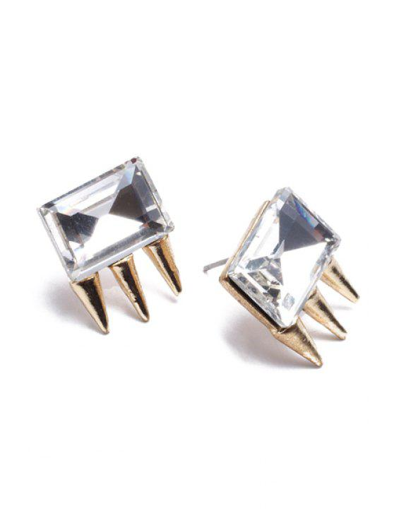 hot Retro Rivet Rhinestone Earrings - GOLDEN