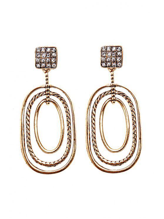 trendy Chic Rhinestone Geometric Pendant Earrings - GOLDEN