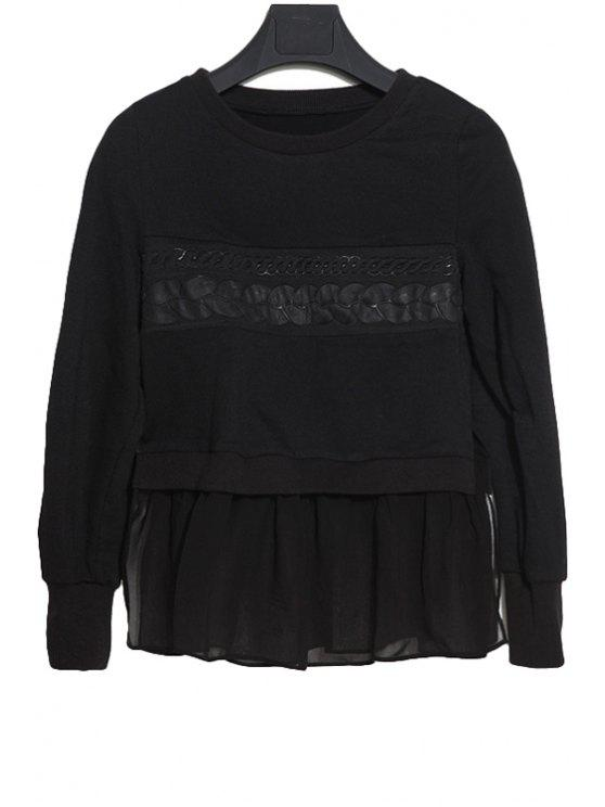 best Chiffon Splicing Solid Color T-Shirt - BLACK S
