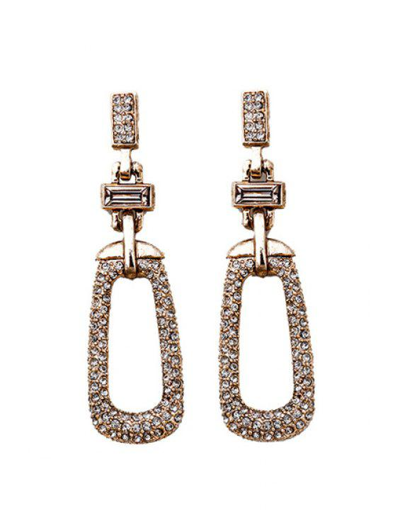 chic Trendy Rhinestone Geometric Pendant Earrings - GOLDEN
