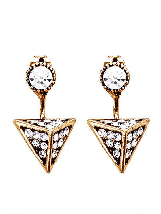 buy Retro Rhinestone Triangle Earrings - GOLDEN