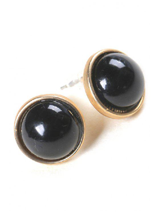 ladies Cute Faux Pearl Round Earrings - BLACK