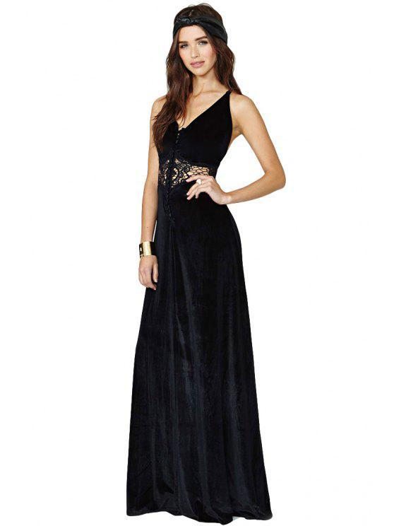 affordable Crochet Splicing Maxi Dress - BLACK S