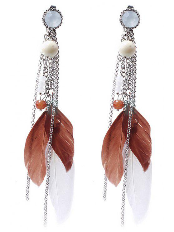 shops Beads Colored Feather Earrings - COFFEE