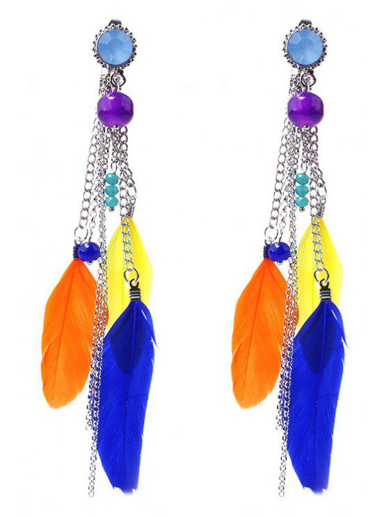 latest Beads Colored Feather Earrings - COLORFUL