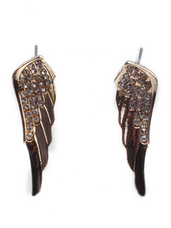 trendy Rhinestone Inlaid Wings Earrings - GOLDEN