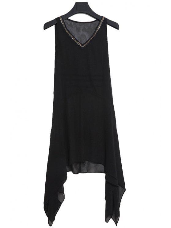 best Sequined Asymmetrical Dress - BLACK S