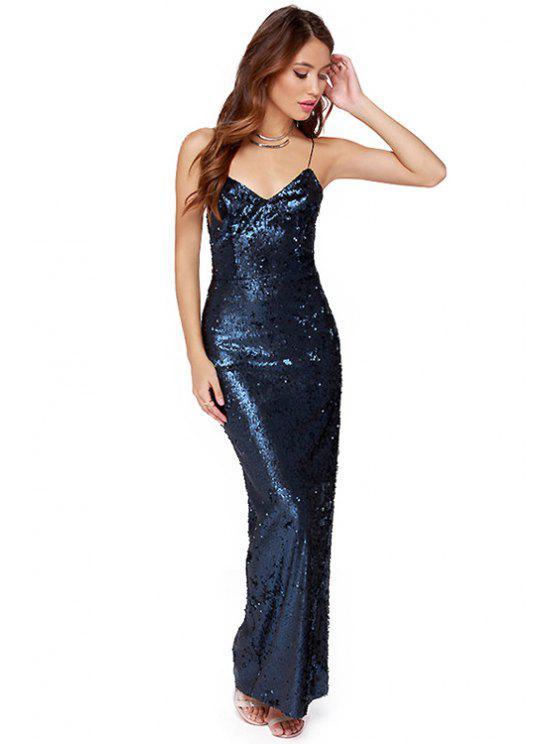online Sequins Spaghetti Straps Maxi Dress - BLUE M