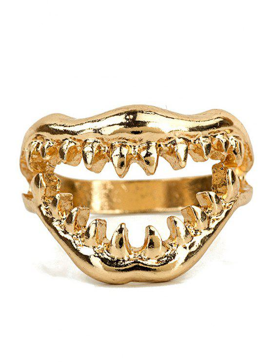 shops Punk Vampire Teeth Ring - GOLDEN ONE-SIZE
