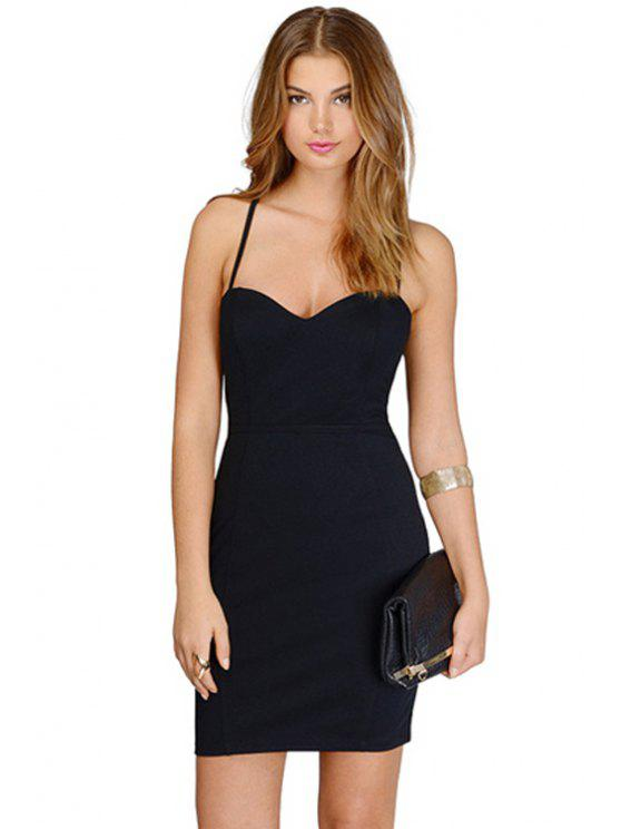 affordable Black Bodycon Spaghetti Straps Dress - BLACK S