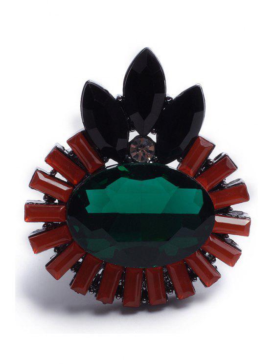 trendy Rhinestone Flower Retro Ring - GUN METAL ONE-SIZE