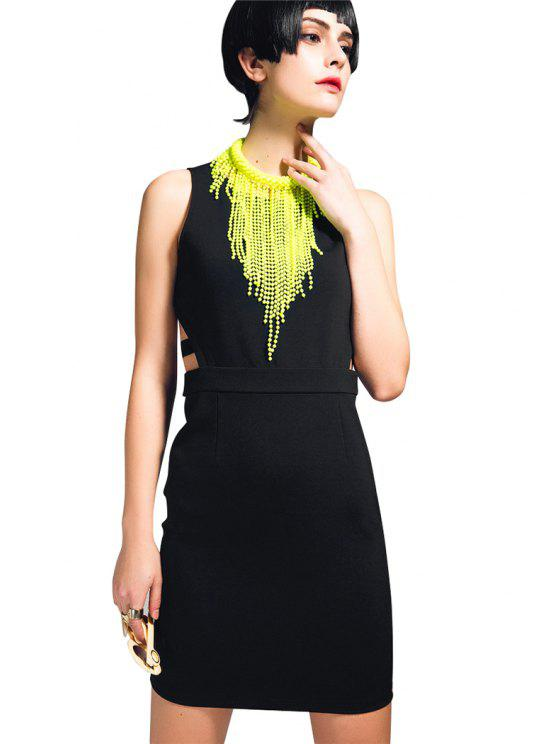 trendy Solid Color Openwork Sleeveless Dress - BLACK L